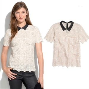 Madewell Lace collared top